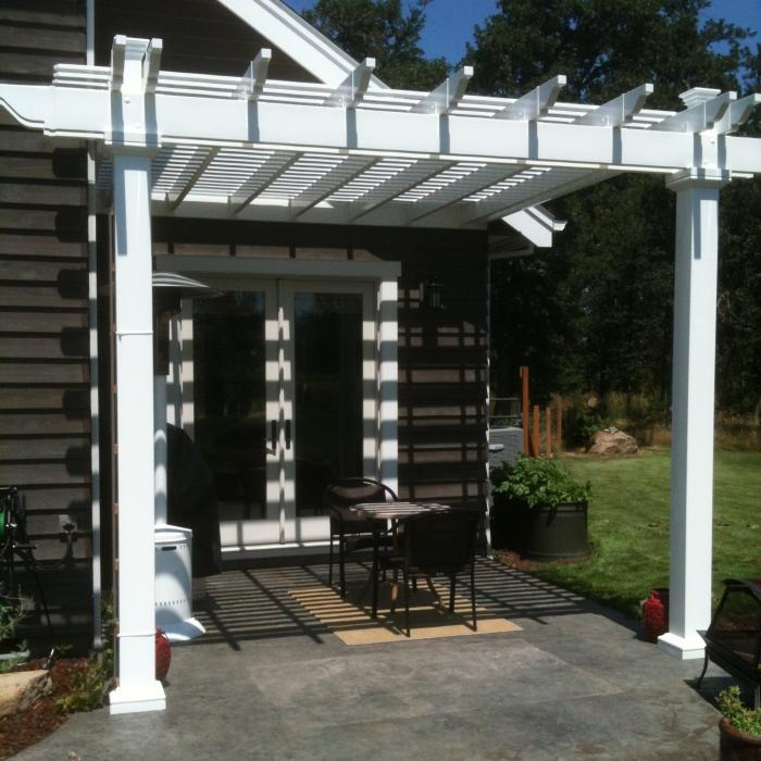 Attached Vinyl Pergola with 5 x 5 Posts The Bradenton