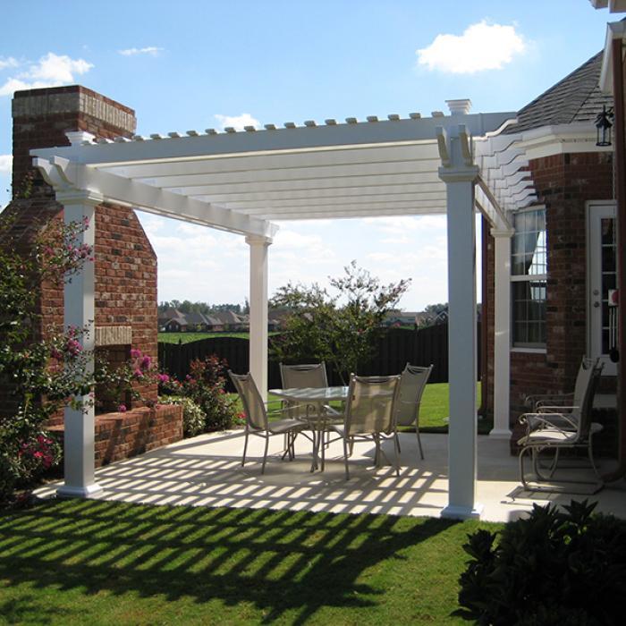 Freestanding vinyl pergola with 8 x 8 posts the bradenton for Freestanding patio cover