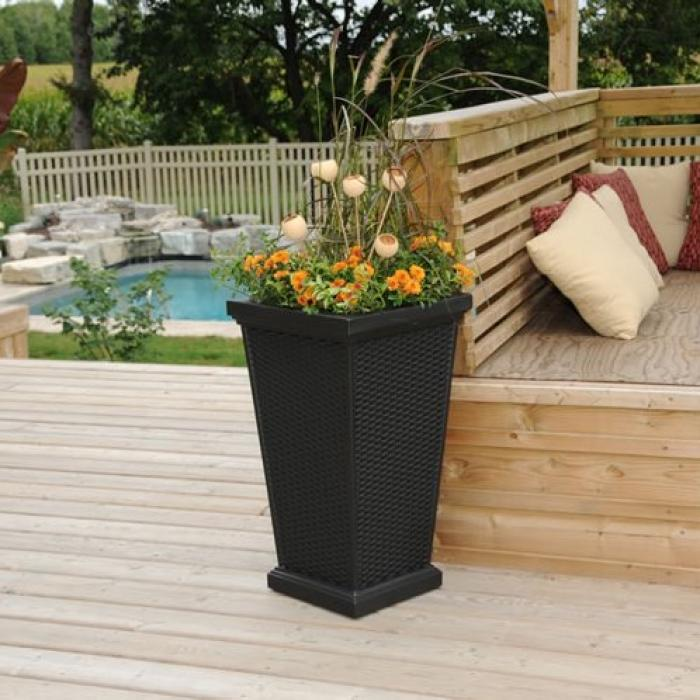 Wellington tall planter black vinyl fencing horse for Tall planters for privacy